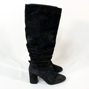 COACH Graham Slouchy Boot Black Suede Chunky Heel